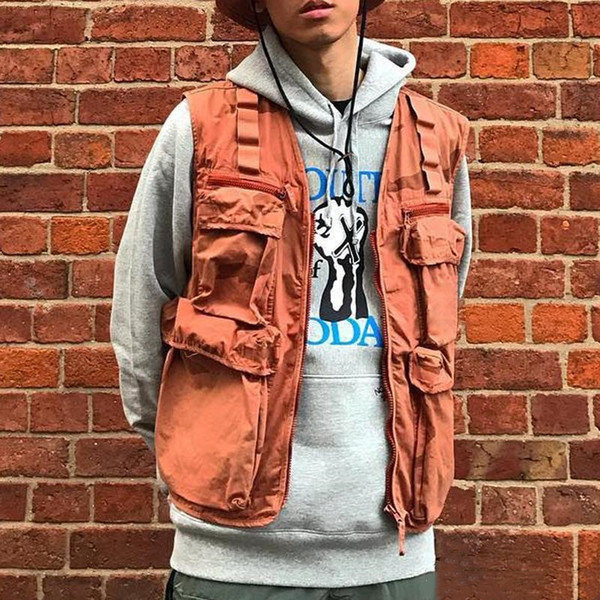 19ss camo cargo vest tactical clothing mountain outdoor men women coat street casual sport outwear jacket size s-xl thumbnail