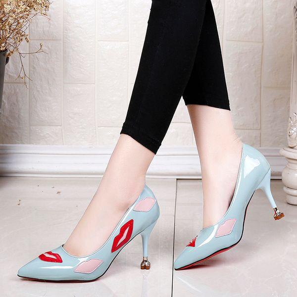 Дизайнерские Туфли Мода Женщины Высокие Каблуки 2019 Новые Насосы Женщины Весна Лето Печатных Губы Свадьба Женщины Женщина Размер 34-39