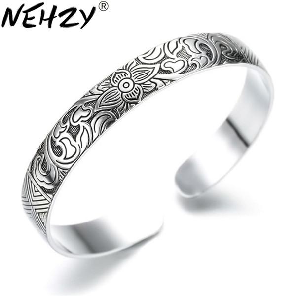 Lotus Thai Silver Brand bracelet retro silver leaf black bracelet Men Women New jewelry fashion retro high-quality Bangles