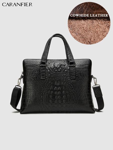 CARANFIER Mens Briefcases Genuine Cowhide Leather Travel Bags Alligator Pattern Business Laptop Computer Handbags Shoulder Bags
