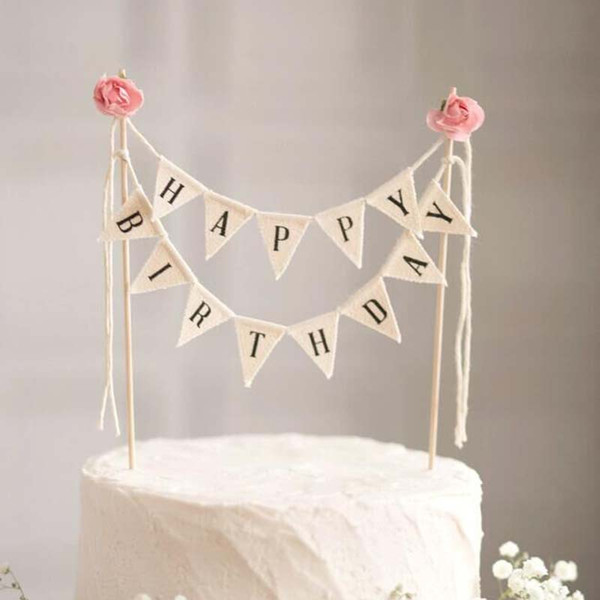 1 set Happy Birthday Cake Topper Cake Flags Banners Wedding Birthday Party Decorations Kids Baby Shower Party Supplies
