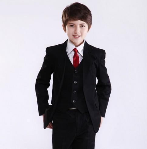 Factory Price Hot Recommend Best Sale Boys Formal Occasion Tuxedos Wedding Kid Dress Suit (Jacket+Pants+Tie+Vest)