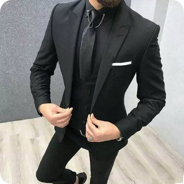 Latest Designs Black Men Suits for Wedding Trim Fit Groom Wedding Tuxedo 3Piece Peaked Lapel Male Jacket Trousers Vest Menswear Prom Party