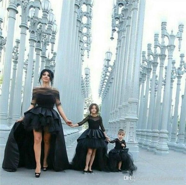 Black Ball Gown Long Sleeves Kids Evening Gowns Sexy High Low Satin Tulle Prom Dress For Girls Flower Girl Dresses
