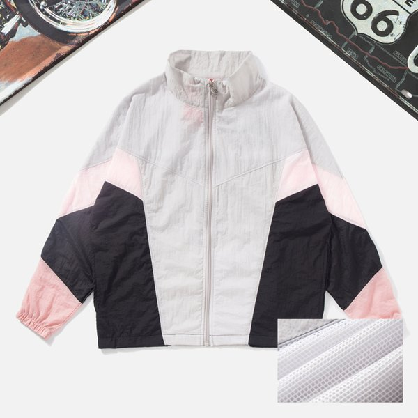 Fashion Mens Women Designer Windbreaker Zipper Brand Hooded Jackets Patchwork Flimsy Lightweight Pleated Gym Running Coats Sunproof LJJ98309