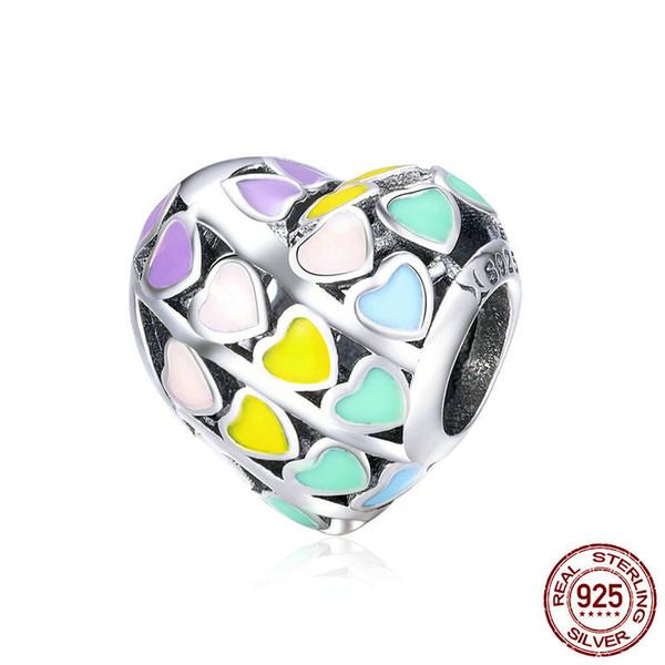 Real 925 Sterling Silver Rainbow Coração Cor Esmalte Encantos Soltos Beads fit Pandora Pulseiras DIY Jóias Fazendo YMSCC902