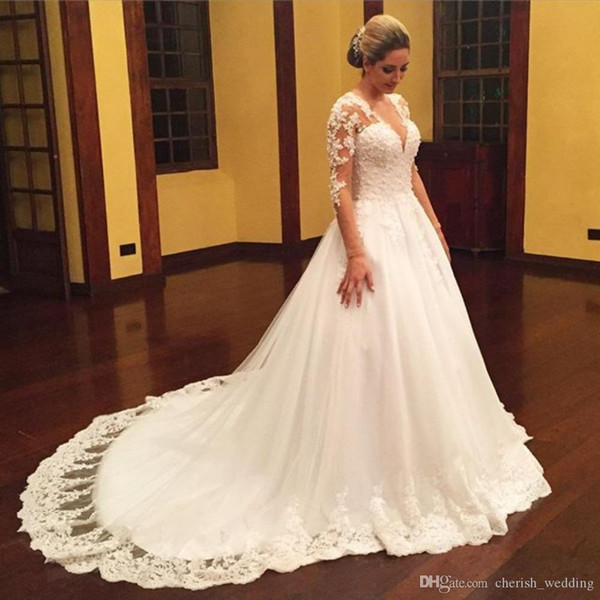 Vintage Plus Size Wedding Dresses With Pearl Beading For Russian Appliques Tulle Long Sleeve Puffy Princes Lace Applique Bridal Gowns