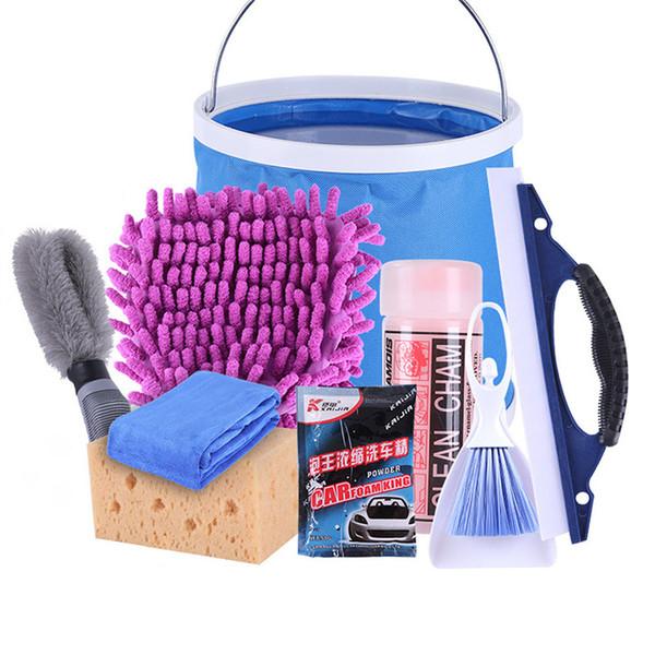 6PCS 9PCS Car Wash Werkzeug Eimer Schwamm Handschuhe Hirschleder Handtuch abwischen Towl Car Wash Wesentlich-Rad-Bürsten-Reinigungsteilkasten