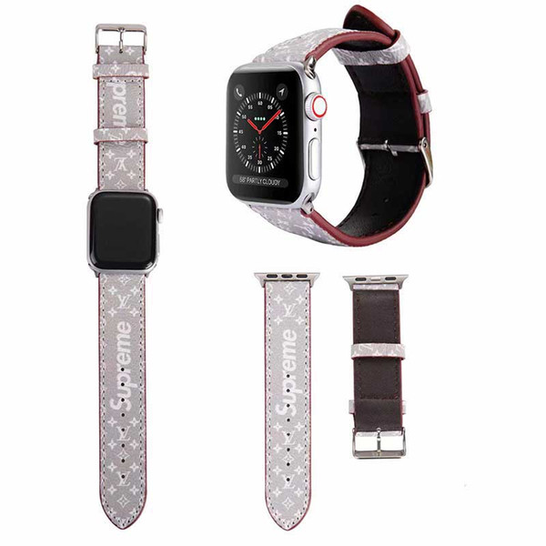 Apple montre 42MM 44MM mode BrandsLeather pour Apple watchbands bande de montre des bandes iWatch Bracelet sport en cuir A01