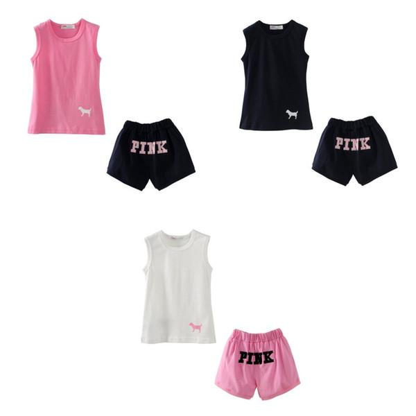 8d56fc73355d8 Enfant rose Hauts et shorts sans manches ensemble rose été été bébé filles  vêtements ensembles bébé