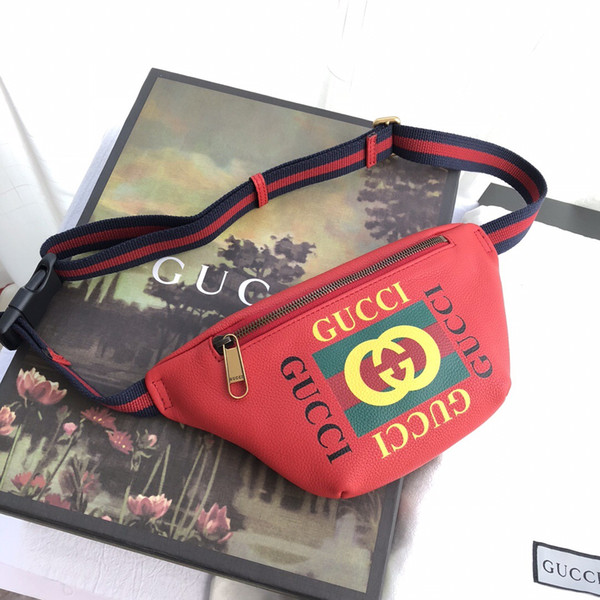 206cc53938f0d8 Best classic black red white real leather wasit bag with box fashion men  women belt bag