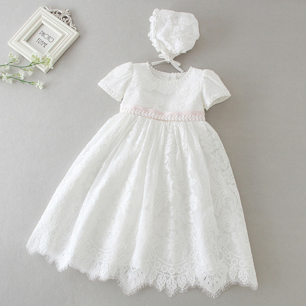 2019 Newborn Baby Girls 0 24m Dress Hollow Lace Solid Back Strap Christening Gown Kids Designer Clothes Baby Outfits With Hollow Hat From Tiangeltg