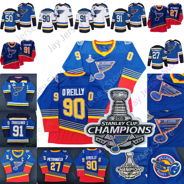 90 St. Louis Blues 90 de la vendimia Jersey Binnington Ryan O'Reilly O Reilly OReilly Alex Pietrangelo Vladimir Tarasenko Brayden Schenn
