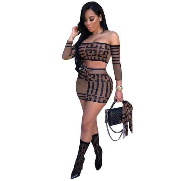 Bayan Tasarımcı Iki Parçalı Set Lüks Geometrik Desen Kırpılmış Üst + Etekler Seksi İki Adet Elbiseler Sokak Stili Bayan Giyim 2 Renkler Yeni