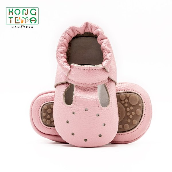 Genuine Leather Toddler Girl Baby Moccasins Hollow Baby First Walkers Infnat Girl Breathable Hard Sole Non-slip Prewalkers