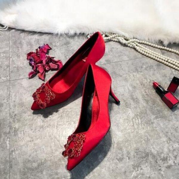 2019 moda yeni bayanlar saten yüksek topuklu parti ve düğün ayakkabı sivri elmas elmas kare toka ile kırmızı yüksek topuklu ayakkabılar # 16