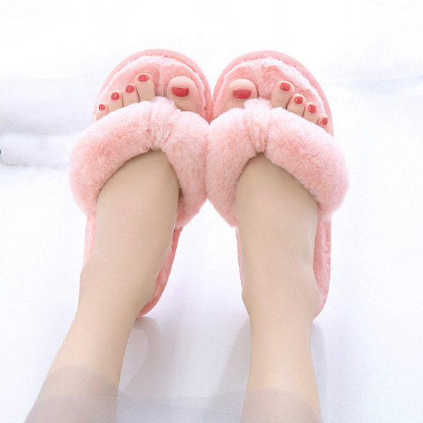 2019 Winter Women Velvet Outside Slippers Flat with Cotton Fabric Indoor Home Flip Flops Comfort Fur Solid Warm Slippers
