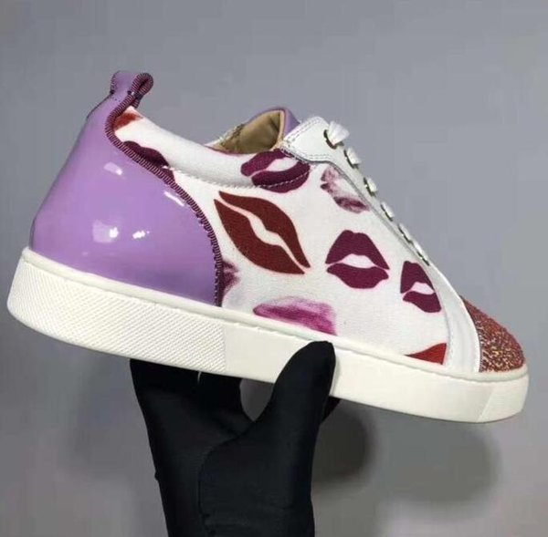 2019 Low Top Diamond Zapatos de zapatilla de deporte inferiores rojos Hombres Perfect Rhinestone Casual Mujeres impresión del labio patt
