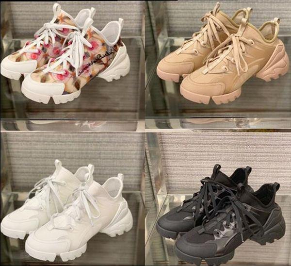 2019 Nuevo lujo zapatos casuales mujer hombre diseñador zapatillas de deporte blanco negro verde tejer con cordones zapatillas altas superior df23