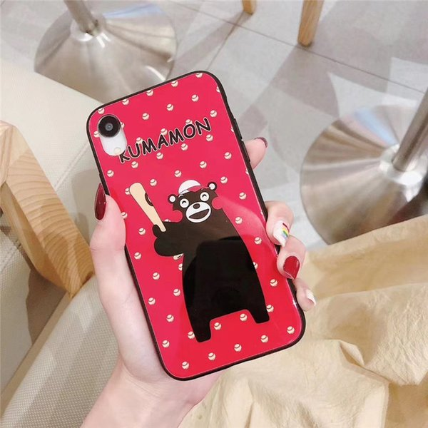 One Piece Luxury phone case For iPhone6S 7 8Plus XR XS fashion cute cartoon bear with glass Designer phone case back cover