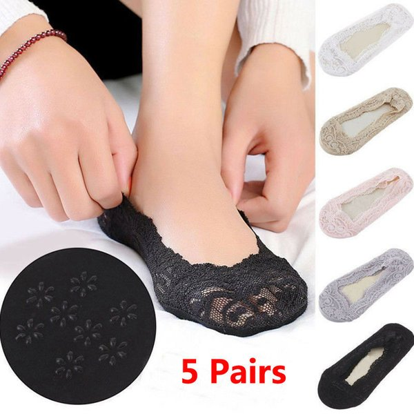 2019 New 5 Pairs Ladies Girls Footsies Invisible Shoe Liner Trainer Ballerina Lace Socks Sock Slipper Dropshipping