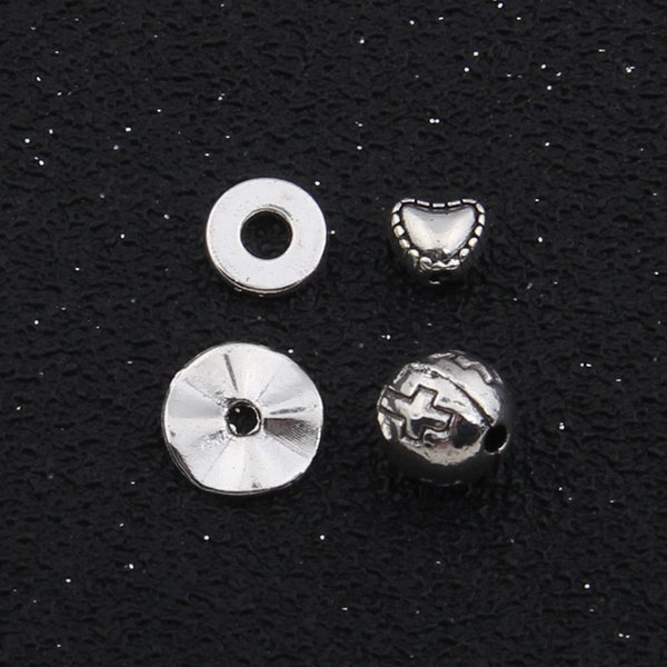 старинное серебро перегородке сердца крест небольшие шарики отверстия проставки шкентелей DIY аксессуары очаровывает ювелирные изделия браслета ожерелья делая выводы