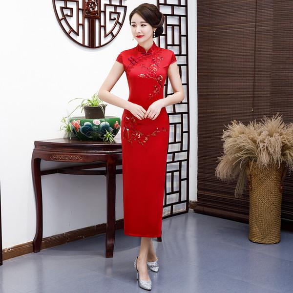 EmbroideryHandmade Button Neuheit Kleid Chinesische Traditionelle Stehkragen Lange QiPao Kurzarm Dünnes Kleid Plus Größe M-6XL