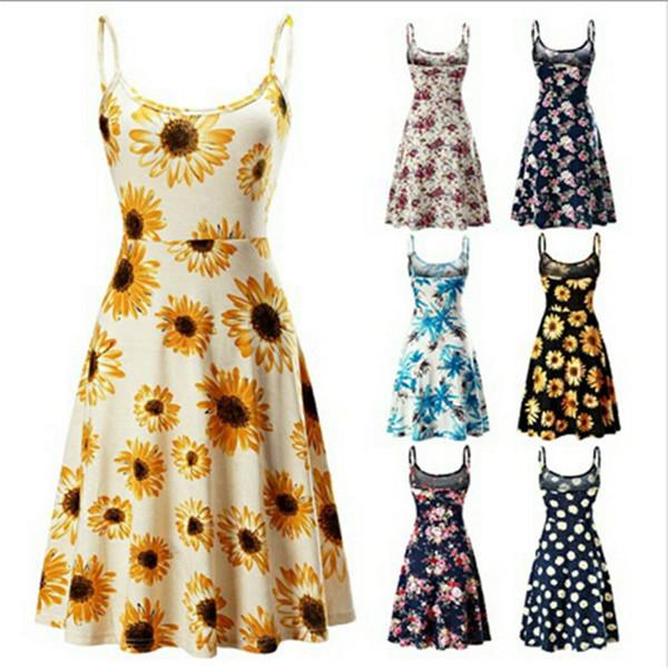 Ladies sundress new design summer sleeveless sling dresses beach floral dress fashion cute Maple leaf blue dresses