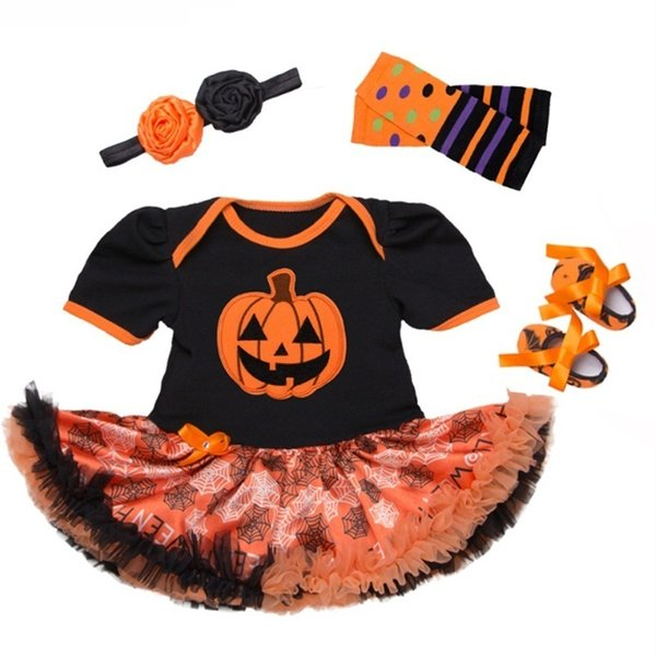 Cotton Baby Girls Clothes 1 Year 1st Halloween Dress Party Dresses For Girl Toddler Kids Baptism Gown Tutu Outfits With Headband Y19061201