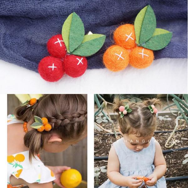 China Explosion good blessing Wool Small Orange Felt Ball Girl Hair Clips Fruit Leaves Hairpins Handmade Barrettes Kids Headwear