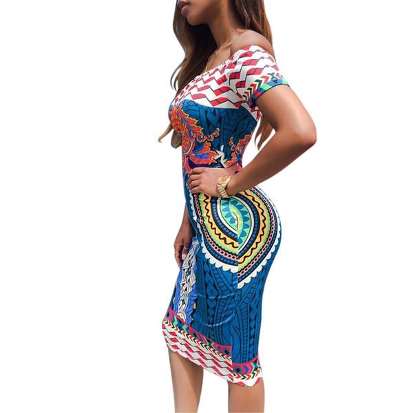 Nouveau mode d'été Femmes Africaines imprimé sexy manches courtes Encolure Casual Robe moulante Taille S-XL