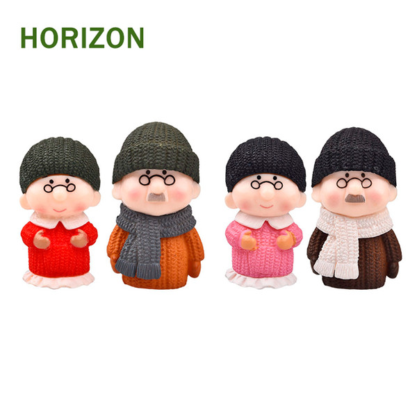 figurine miniature Hot 4pcs/Set Mini Grandpa And Grandma Ornament Fairy Garden Miniatures Gnome Terrariums Figurines For Home Decoration