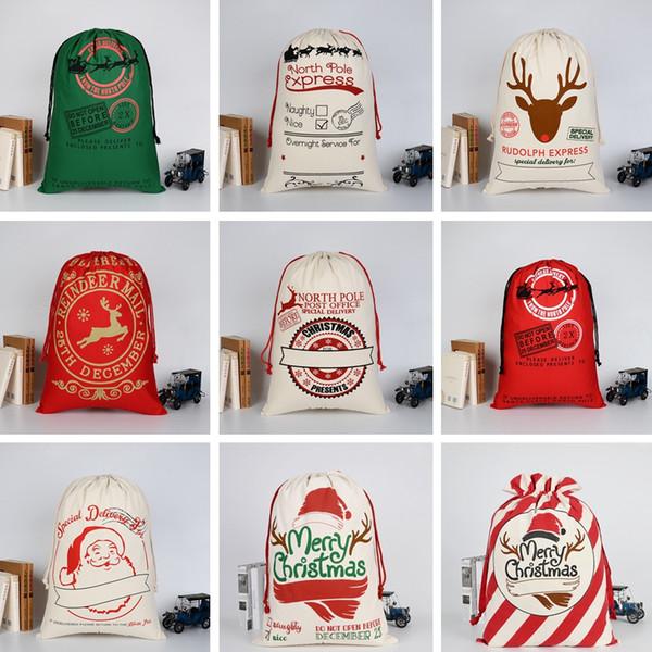 Девушка Рождественский подарок сумки 31 цветов мода большой тяжелый холст конфеты сумки творческий дети Санта шнурок сумка TTA1556