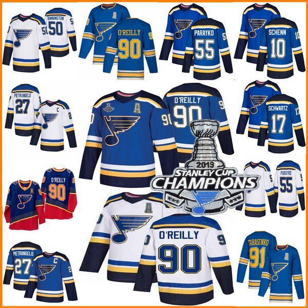 2019 Stanley Cup Şampiyonlar forması Louis Blues 50 Binnington Schwartz 90 Ryan O'Reilly Colton Parayko Schenn 91 Vladimir hokey forması