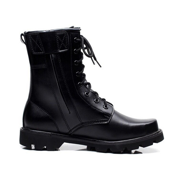 2019 Retro Combat Boots Winter British Microfiber Leather Military Boots Punk Charm Lace Up Men Warm Wool Motorcycles Steel Toe Boots