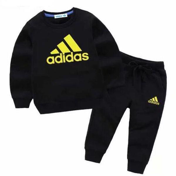 Sıcak satış Marka Bebek Eşofman Bahar Sonbahar Erkek Bebek Kız Pamuk Tam kollu Ceket + pantolon 2 adet / takım Erkek Çocuk Giyim Seti Bebek Seti