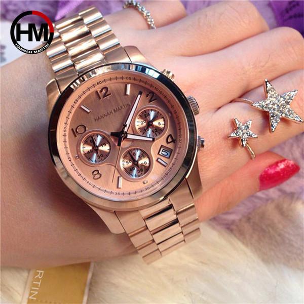Moda Clásico Reloj de Las Mujeres de Oro Rosa de Primeras Marcas de Lujo Vestido Laides Casual de Negocios Relojes Impermeable Reloj de Cuarzo Calendario Reloj