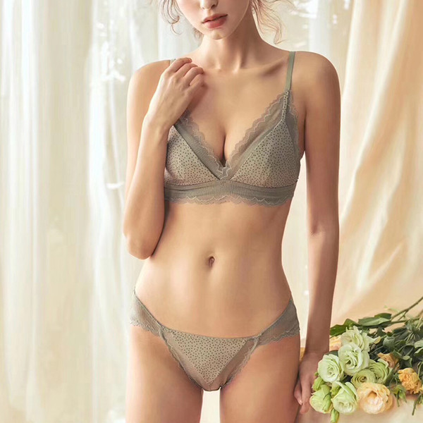 French romantic retro style lace underwear sets wire free women sexy sleepwear comfortable thin cup girls bra and panty set