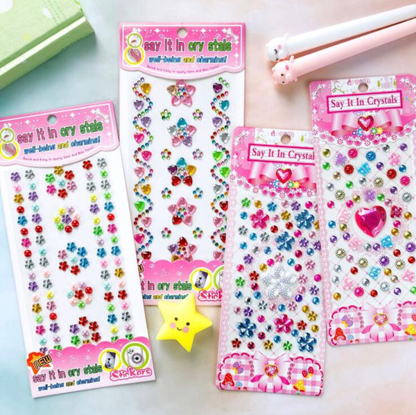 top popular Sticker Kids Toys Flower Crystal Self Adhesive Rhinestone Glitter Sticker Decorative Stationery Craft Sticker Scrapbooking DIY Stickers 2021