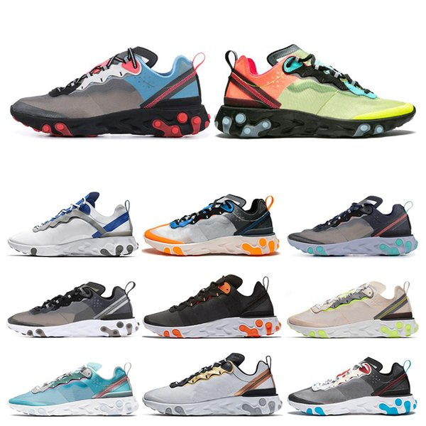 React Element 55 87 Mens Womens Running Shoes Taped Seams Royal Tint Sail Anthracite Green Mist Women Sports Sneakers 36-45