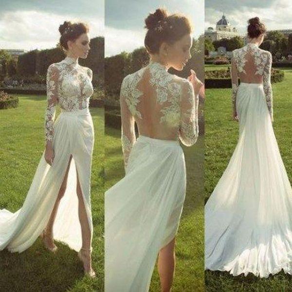 Novo vestido de verão das mulheres sexy rendas de mangas compridas vestido de noiva vestido de perspectiva