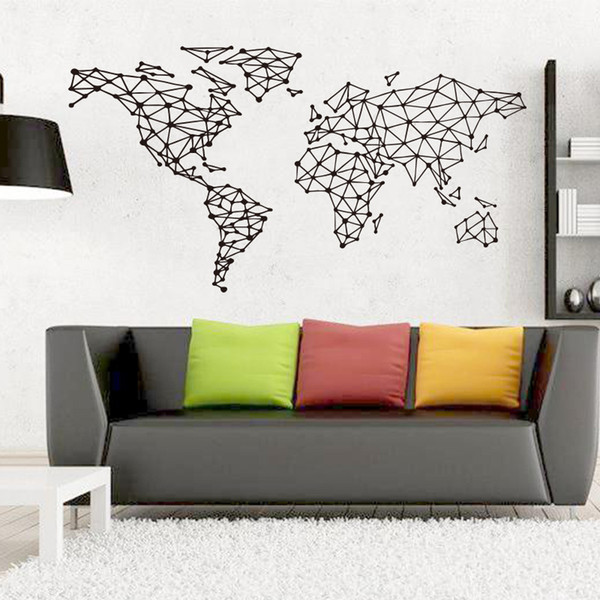 Black Large World Geometric Wall Sticker Removable Double Sided Visual Pattern Home Decoration House Wallpaper free shipping wn631A