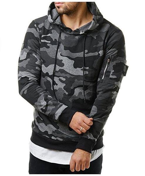 Men Camouflage Hoodie Sweatshirt Long Sleeve Hooded Tops Jacket warm autumn men casual Coat Outwear Baseball shirt
