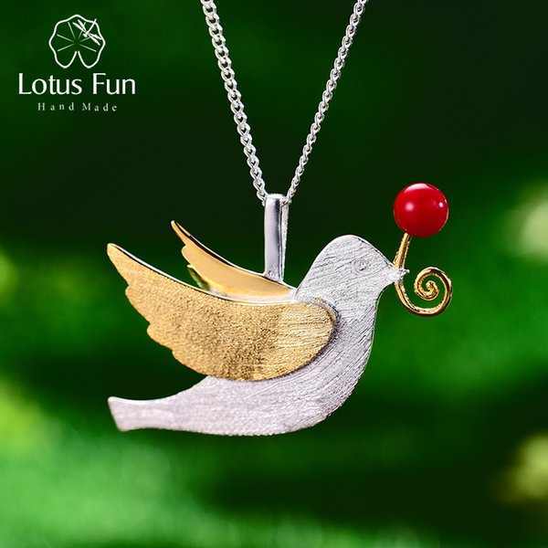 Lotus Fun Real 925 Sterling Silver Handmade Fine Jewelry Creative Flying Pigeon With Fruits Pendant Without Necklace For Women Y19051602