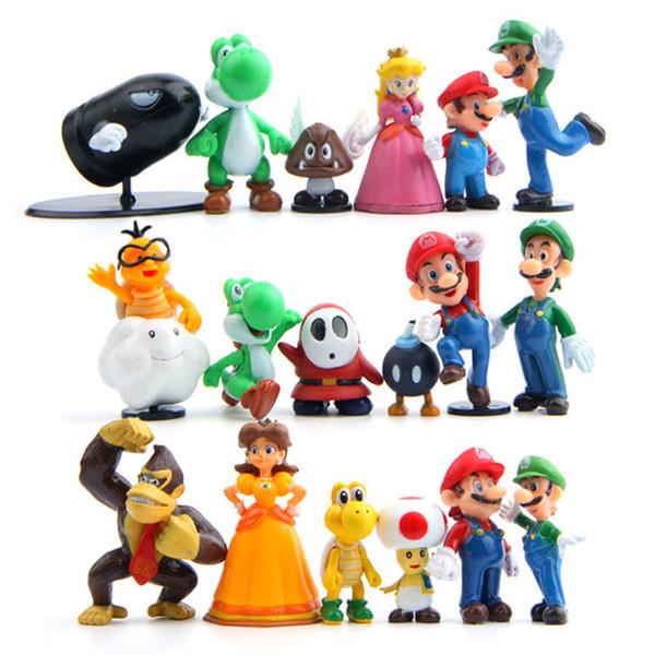 18pcs/set Super Mario Bros 2 Mario Luigi Mushroom Toad Chimpanzee Princess Action Figure Super Mario yoshi PVC Gift Toys For Kid