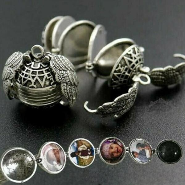 Memoria colgante Collar flotante Magia 4 Foto Caja Locket plateado Alas de ángel Caja Collares Colgante Cadena OOA6895