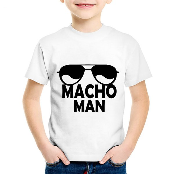 Macho Man Sunglasses Printed Children Funny T-shirts Kids Summer Short Sleeve Tees Boys/Girls Casual Tops Baby Clothing,HKP5034