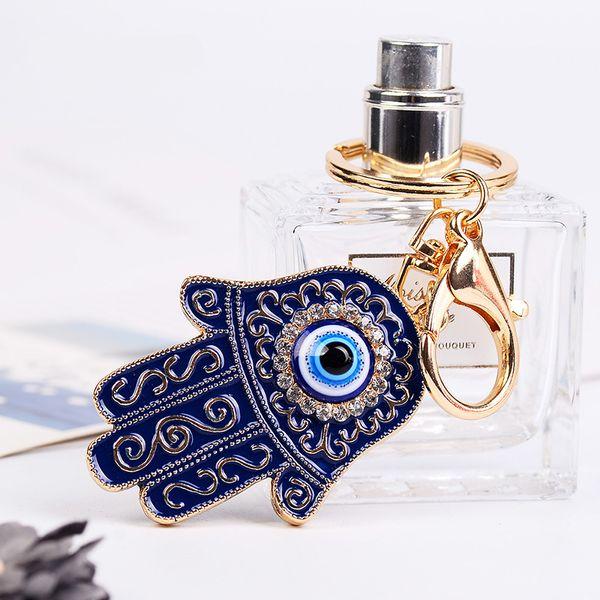 Hamsa Hand Schlüsselanhänger Schlüsselanhänger Evil Eye Fatima Anhänger Charme Legierung Schmuck Schlüsselanhänger Halter für Mann Frauen Metall Mode Schlüsselanhänger Schwarz Blau