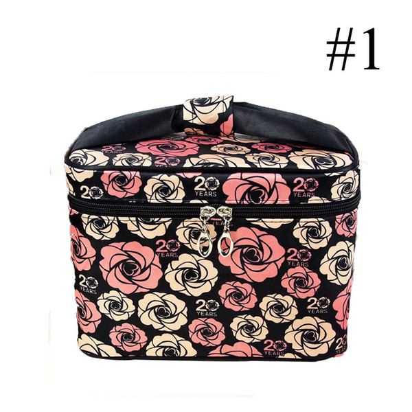 Cosmetic Bag Nylon Large Printing Compartment Portable Waterproof Bow Flowers Two Way Zipper Cube Dark Vertical Square