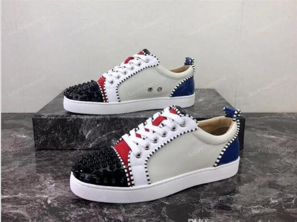 chaud !!! Designer de luxe Semelle Rouge Suede Cuir Strass Stras Spikes Chaussure Hommes Femmes Chaussures Plates Bas-lacets Casual Sneaker Chaussure